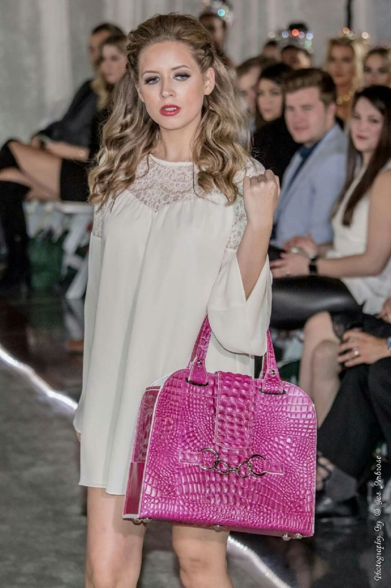 Beau Satchelle Alligator Leather Tote In fuchsia and pearl at RAINN Fashion on Common Ground January 2017