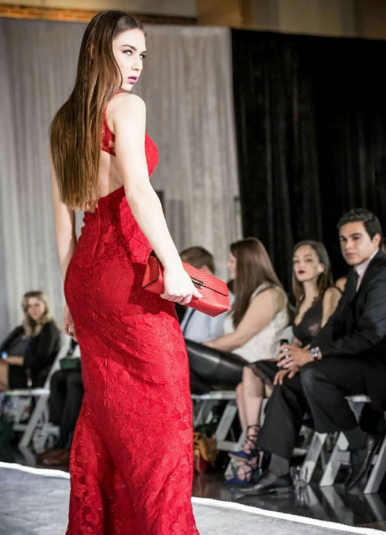 Rainn Fashion show model with Red Python Clutch